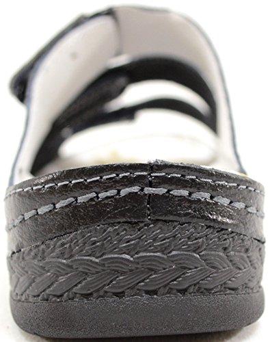 Zapatos verano piel de negro velcro mujer Playa Negro Mujer Sandalias Vacaciones EIqwA865