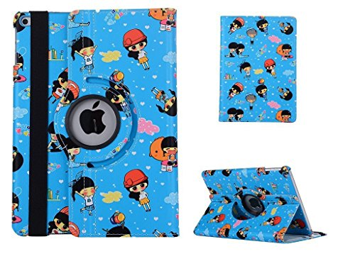 iPad 2 Case,iPad 3 Cover, Vacio Cute Cartoon Pattern 360 Degree Rotating PU Leather Flip Folio Stand Case Cover for iPad 2/iPad 3/iPad 4 9.7 inch -Blue by Vacio
