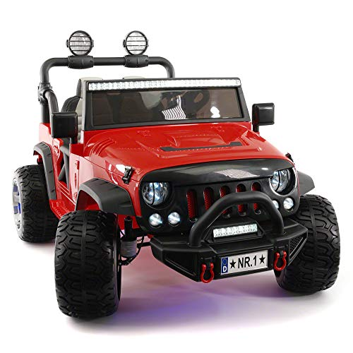 Explorer 2 (Two) Seater 12V Power Children Ride-On Car Truck with R/C Parental Remote + EVA Rubber LED Wheels + Leather Seat + MP3 Music Player Bluetooth FM Radio + - File Cherry Modern