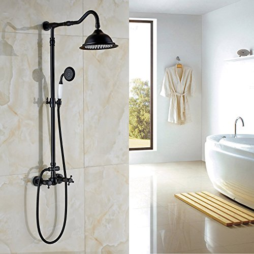 "high-quality Rozin ORB Finish Dual Knobs Mixer Shower Set 8"" Rain Showerhead with Hand Spray"