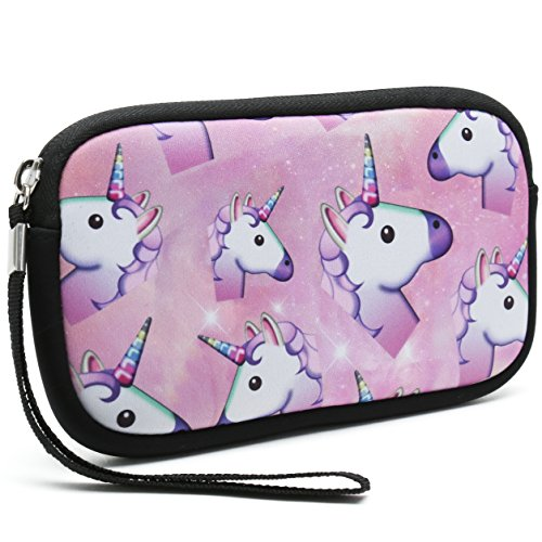 Unisex Portable Washable Travel All Smartphone Wristlets Bag Clutch Wallets, Change Purse,Pencil Bag,Cosmetic Bag Pouch Coin Purse Zipper Change Holder with Strap (Many Unicorns)