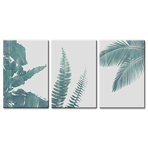wall26 3 Panel Canvas Wall Art - Retro Style Green Tropical Leaves - Giclee Print Gallery Wrap Modern Home Decor Ready to Hang - 16''x24'' x 3 Panels by wall26
