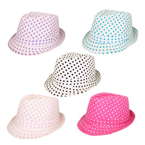 Premium Polka Dot Cotton Fedora Hat - Different Colors Available