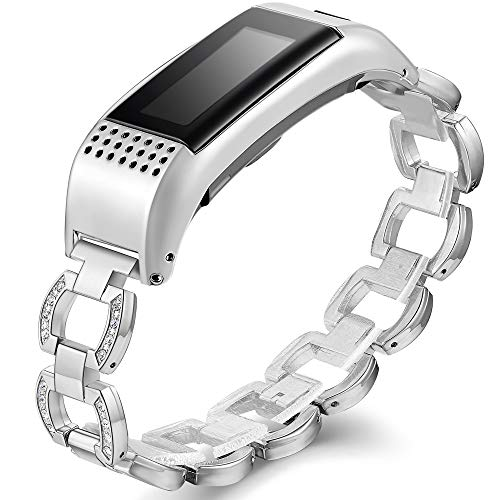 Compatible Garmin Vivosmart HR+ Bands, Accessory Metal Band with Case Watch Replacement Strap Wrist Band Compatible Garmin Vivosmart HR+,Silver,Not for Garmin Vivosmart HR (No Tracker)