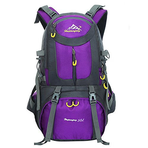 45L+5L Impermeable Mochila de Senderismo con Cubierta Lluvia, Paquete del Alpinismo Escalada Marcha Trekking Camping Deporte Al Aire Libre Unisex (púrpura) púrpura