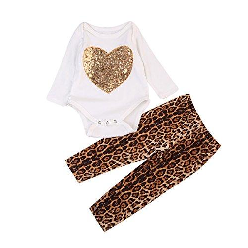 - Glosun Newborn Baby Girls Long Sleeve Heart Romper Tops + Leopard Leggings Long Pants 2Pcs Outfits (12-18 Months)