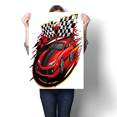 DIY 3D Painting Speed rac car with Checkered Flag Racetrack Design Canvas,28