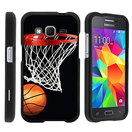 Samsung Galaxy Core Prime, Hard Snap On Protective Cover with Creative Graphic Image for Samsung Galaxy Core Prime G360 (Boost Mobile) from MINITURTLE | Includes Clear Screen Protector and Stylus (Hard Basketball)