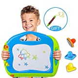 magnet drawing board with stamps - Tesuivre Magnetic Drawing Board for Kids Colorful Magna Drawing Doodle Board Toys Erasable Writing Sketch Board Pad With 3 Shape Stamps and Replacement Pen Gift