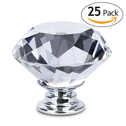 HOMEIDEAS 25PCS 30MM Diamond Crystal Glass Cabinet Knob Cupboard Drawer Pull Handle,3 Size Screws Glass Cabinet Knobs Pulls