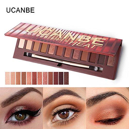 (Jonerytime12 Colors Shimmer Matte Eyeshadow Eye Shadow Palette Cosmetic Brush Set)