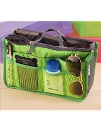 Nylon Handbag Insert Comestic Gadget Purse Organizer, Expandable w/ Handles (Green)