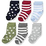 Luvable Friends Baby Basic Socks, 6 Pack, Stars/Stripes, 0-6 Months