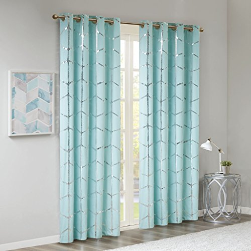 Madison Park Raina Total Blackout Metallic Print Grommet Top Window Curtain Panel Thermal Insulated Light Blocking Drape for Bedroom Living Room and Dorm, 50x84, Aqua/Silver (Baby Blue Kitchen Curtains)