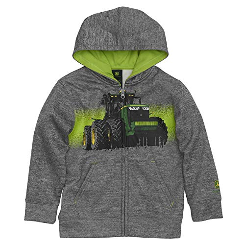John Deere Tractor Boy Zip Front Fleece Hoody Poly Sweatshirt Gray