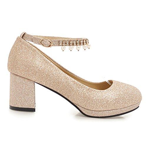 Artfaerie Womens Block Mid Heels Court Shoes Closed Toe Strappy Pumps Buckle Glitter Wedding Shoes Gold iJFM7apb