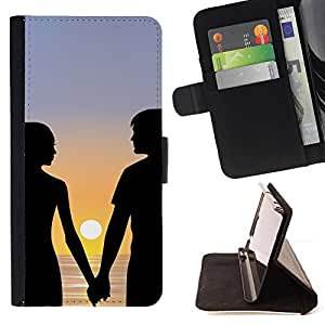 Momo Phone Case / Flip Funda de Cuero Case Cover - Pareja Romance Love Beach Sunset Mar Océano - Motorola Moto E ( 1st Generation )