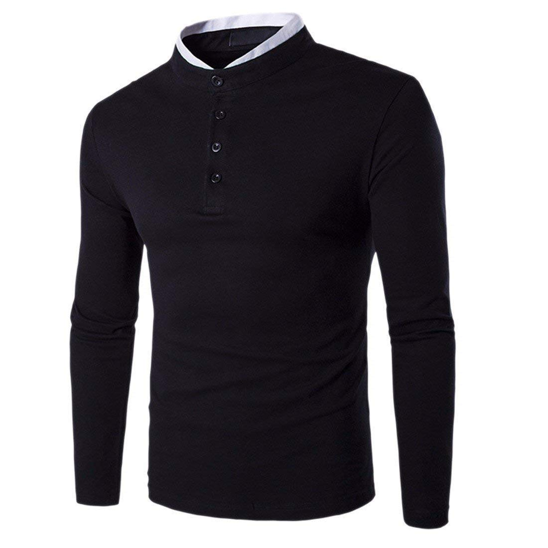 Crystallly T-Shirt Manica Lunga Slim da Abbinabile Uomo Fit T-Shirt Aderente Stile Semplice per Il Tempo Libero Autunno Tinta Unita