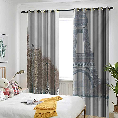 Blackout Lined Curtains Sun Visor in Bedroom Living Room Winter,Eiffel Tower in Snow Outdoors Champ de Mars Tourist Attraction Paris France,White Brown Green ()