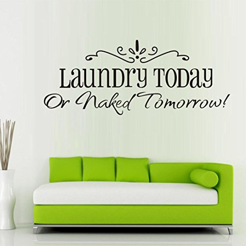 Ussore 1PC Laundry Fashion Artistic Peel living room Black Stick Wall Stickers Decals 58x25CM ()