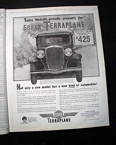(1932 ESSEX TERRAPLANE Hudson Motor Car Company Introduction ADVERTISEMENT News THE NEW YORK TIMES, July 25, 1932)