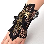 BLESSUME Steampunk Lace Wrist Cuff Bracelet with Gears (Black 2(1pc)) 8