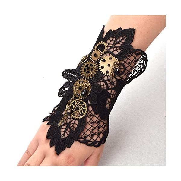 BLESSUME Steampunk Lace Wrist Cuff Bracelet with Gears (Black 2(1pc)) 5