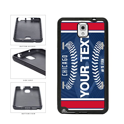 BleuReign(TM) Personalized Custom Name Baseball Chicago Blue License Plate TPU RUBBER SILICONE Phone Case Back Cover For Samsung Galaxy Note III 3