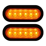 AMBOTHER 2x 6'' LED Trailer Lights Oval Lights, Tow Towing Rear Stop Turn Signal and Parking Light Kit, Tail Brake Side Marker Lights for Car Truck 12V WATERPROOF Amber (Pack of 2)