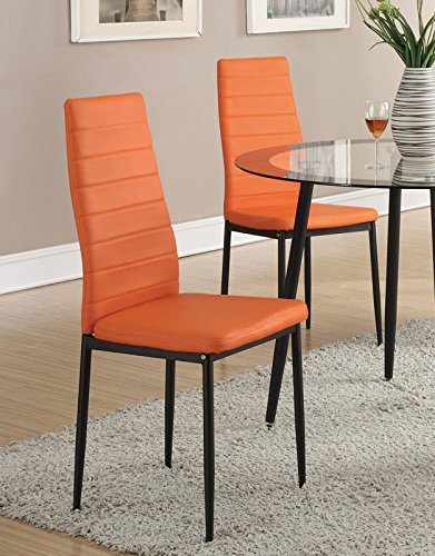 Retro Style Orange Faux Leather Dining Chairs Set of 4 by - Leather Orange Faux Chair