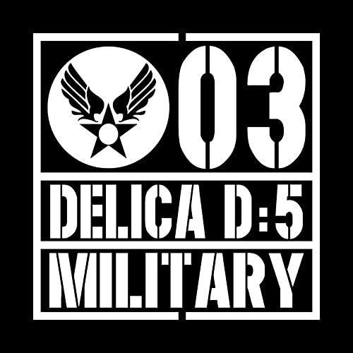 ミリタリー DELICA D5 デリカD5 カッティング ステッカー ホワイト 白