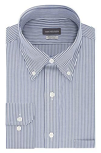Van Heusen Men's Pinpoint Regular Fit Stripe Button Down Collar Dress Shirt, Ocean, 17.5