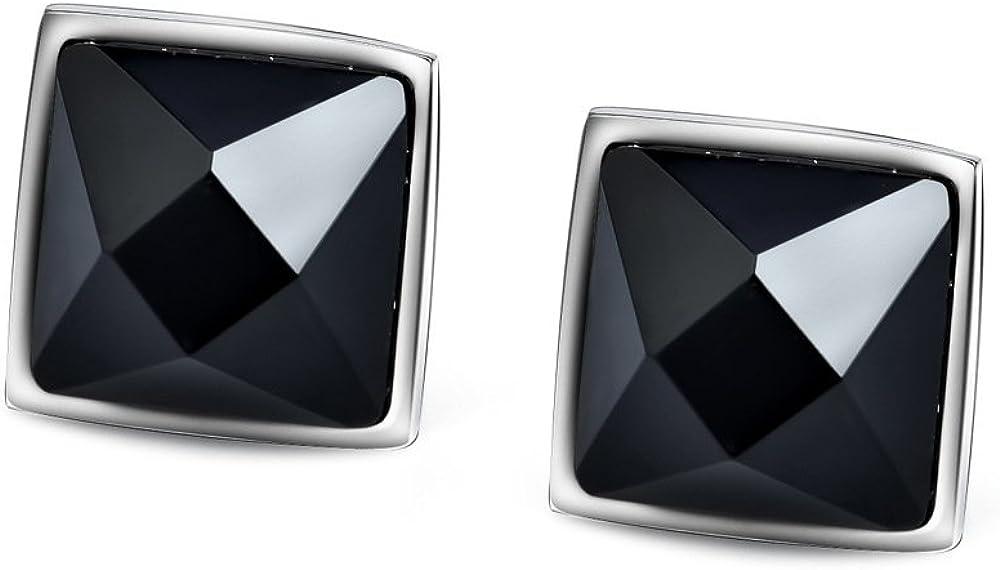 Pendientes de tuerca de plata de ley 925 con ágata de ónix negro con corte rombílico para mujer, 7 mm