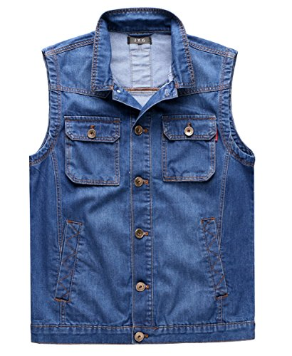 JYG Men's Motorcycle Jean Vest