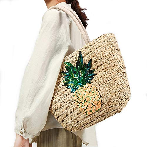 Aiello's Story Straw Weave Handbag Sequined Pineapple Beach Grass Woven Shoulder Bag Bohemian Style Travel Straw Tote Bag (Natural color)