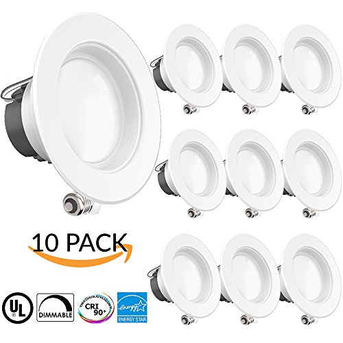 SUNCO 10 PACK - 11Watt 4'- Inch ENERGY STAR UL-Listed Dimmable LED Downlight Retrofit Baffle Recessed Lighting Kit Fixture, 3000K Warm White LED Ceiling Light, Wet Location - 600LM, CRI 90