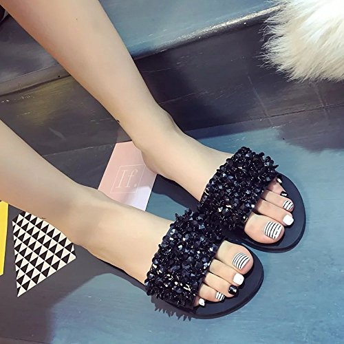 XING GUANG Pantoufle Femme Été Nouveau Plat Plat Coréen avec des Sandales Et des Pantoufles Strass Clip Toe,Silver(36) Black(41)