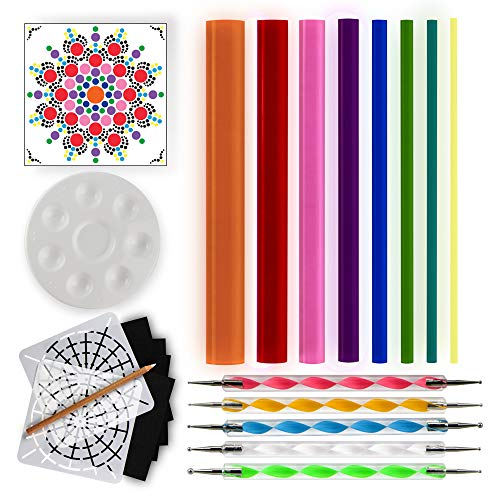 (Mandala Dotting Tools for Painting Rocks - Dot Painting Tools, Stencils, White Pencil, Paint Tray, Pattern)