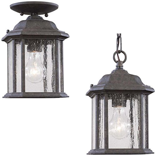 Sea Gull Lighting 60029-746 Outdoor Pendant with Clear Beveled Shades, Oxford Bronze Finish