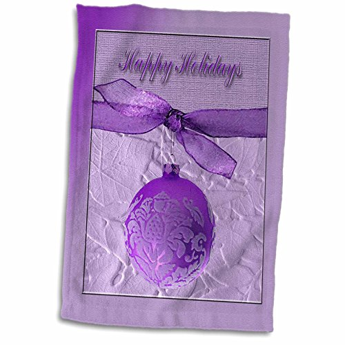 3D Rose Plum Purple Ornament with Ribbon-Happy Holidays H...