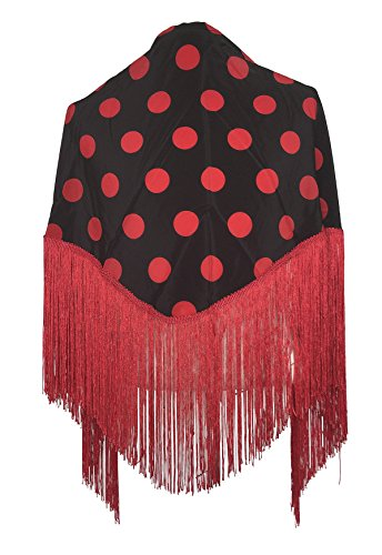 La Senorita Spanish Flamenco Dance Shawl black with red dots (Dots Spanish)