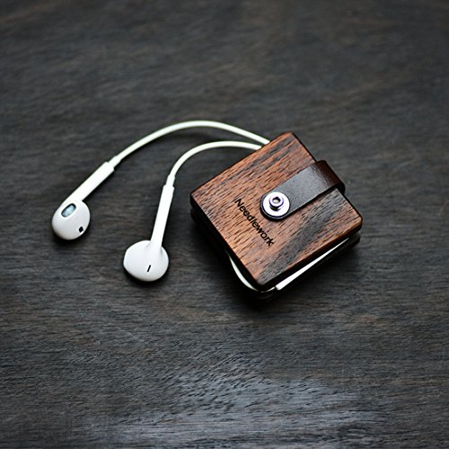 Beschan Square Leather Wood Cable Organizer Cord Keepers Wrap Winder for Headphone Earphone