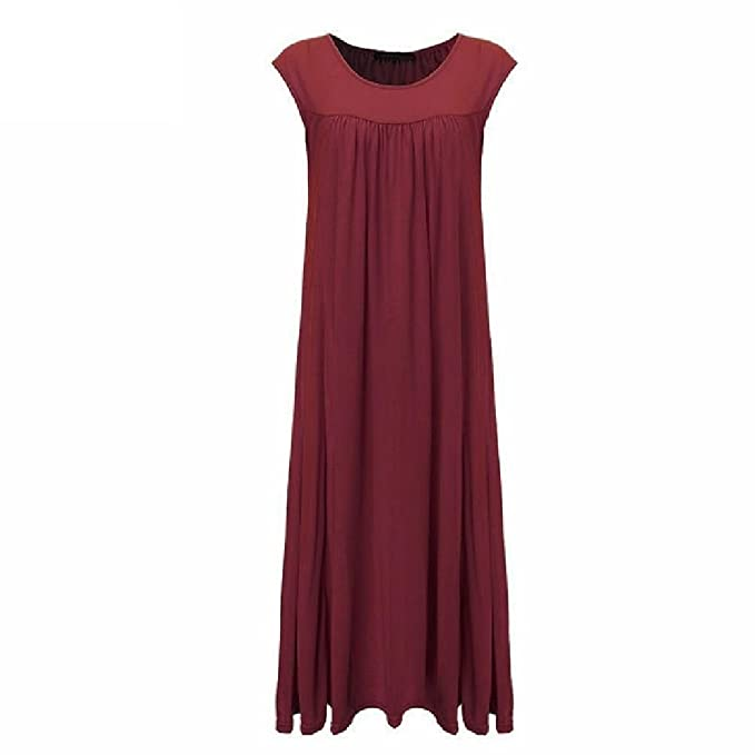 Jewelryfind clothings Women Dress Sleeveless Cotton Long Maxi Party Dresses Casual Loose Beach Vestidos S-