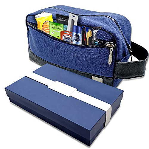 Travel Toiletry Bag for Men - Compact Dopp Kit10 x 4.5 x 5.5 Inches - Waterproof Canvas - Hold Your Shaving Kit and Toiletries for Gym or Traveling - Gift Boxed - Blue with Black Vegan Leather Trim