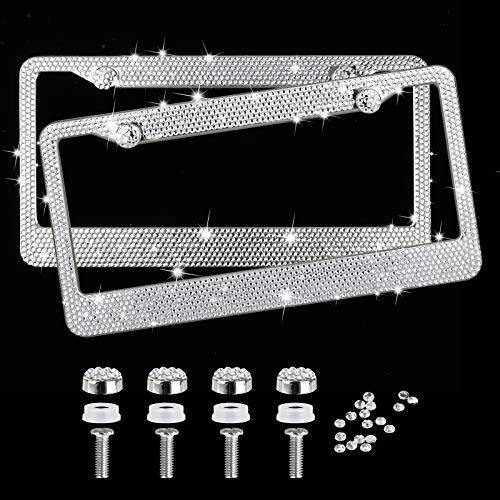EEEKit Rhinestone License Plate Frame, 2 Packs Pure Handmade Waterproof License Plate Frame Aluminium Metal Chrome Crystal Diamond Bling License Plate with Screw Caps(Silver)