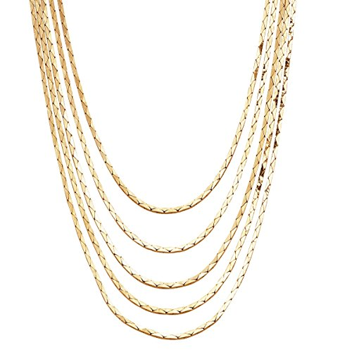 Palm Beach Jewelry Yellow Gold Tone Multi-Strand Cobra-Link Waterfall Necklace 30