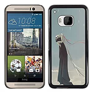 Shell-Star Arte & diseño plástico duro Fundas Cover Cubre Hard Case Cover para HTC One M9 ( Rain Death Monster Blue Clouds Skull )