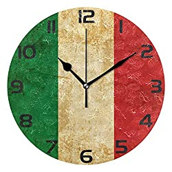 ALAZA Vintage Italian Flag Round Acrylic Wall Clock, Silent Non Ticking Oil Painting Home Office School Decorative Clock Art