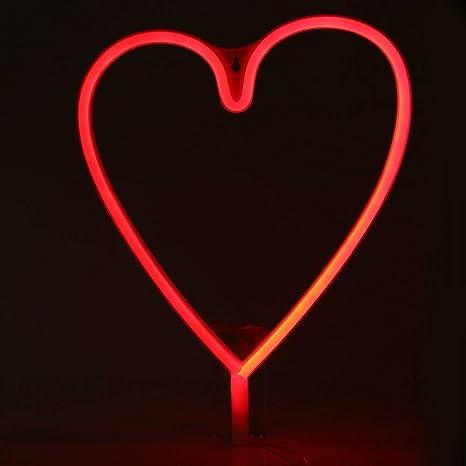 Luce al Neon a Cuore di Amore Luci Notturne di Valentine Insegne al Neon a Forma di Cuore con USB e Alimentate a Batteria per Cameretta Bambini Festa di Valentine Matrimonio Natale