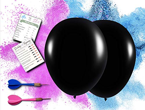 """Baby Gender Reveal Balloon Set by Perfect Memories - [2x] 36"""" Black Baby Reveal Balloons, Darts and Pink and Blue Powder Smoke Bombs – Baby Shower Gender Reveal Party Supplies, Games and Ideas -"""